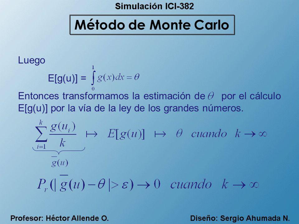 Método de Monte Carlo Luego E[g(u)] =